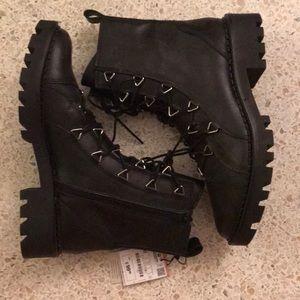 Zara New Black Leather Boots size 41